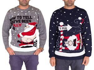 Mens-Unisex-Christmas-Jumper-Sweater-Chimney-Santa-Novelty-Pullover