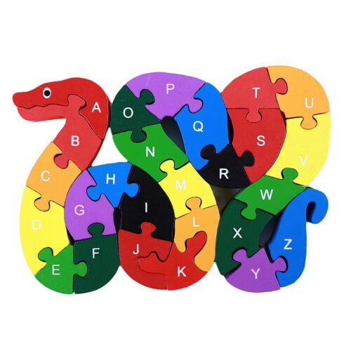 Snake Wood Alphabet Jigsaw Intelligent Brain Teaser Puzzle Baby Children Toy New