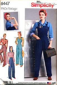 SIMPLICITY SEWING PATTERN 8447 MISSES SZ 16-24 VINTAGE '40s OVERALLS, PLUS SIZES