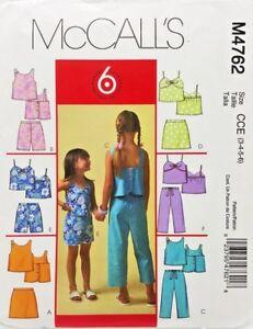 Girls-Top-Capri-Pants-Shorts-Skort-Sewing-Pattern-M4762-Size-3-4-5-6-McCalls