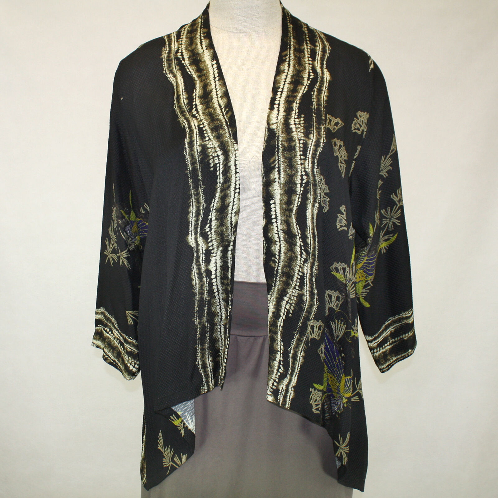 Citron Clothing Art To Wear Whimsical Butterfly 100%Silk Cardigan Blouse Plus 2X