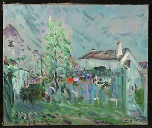The-Jardin-of-Verneuil-Antique-Large-Oil-on-Canvas-Signature-Signed-and-Located