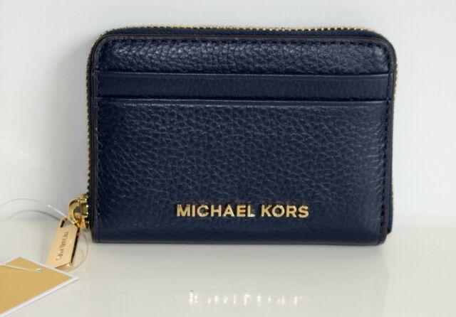 Michael Kors Travel Geldbörse Black Zip Coin Card Case Navy Gold Geldbeutel