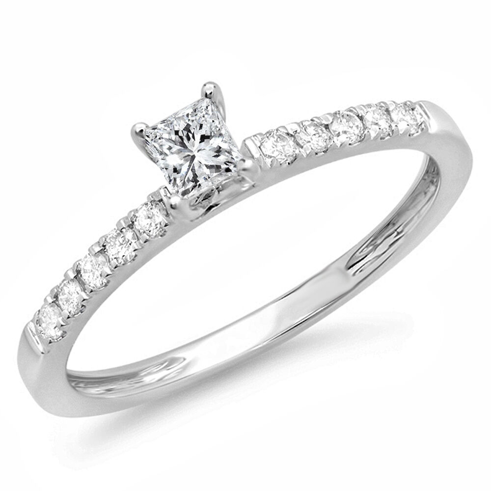 14k White gold Diamond Ladies Solitaire Accents Bridal Engagement Ring 1 2 CT