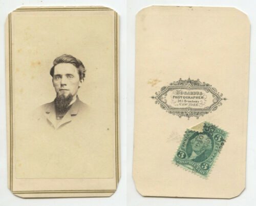 CIVIL WAR ERA PHOTO W 3 CENT STAMP, MAN FROM NY, CDV BY BOGARDUS, GRAPHIC BACK