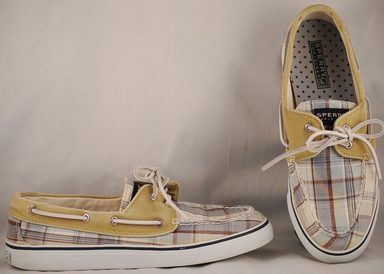 Women's Sperry Top-sider Multi-Color Plaid Canvas Boat Shoes 8 M