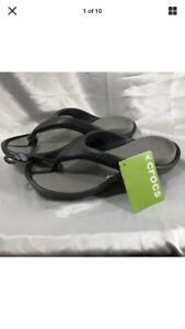 Black//Smoke Relaxed Size Men/'s 6//Women/'s 8 crocs Athens Flip Flop