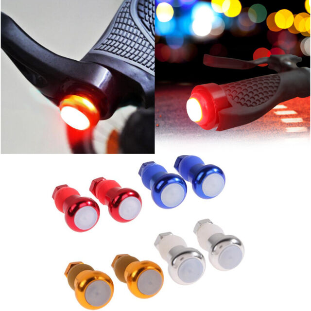 1 Pair bike handlebar grips end plug LED lights safety warning turn signal