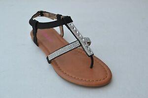 JB-tell-Kids-Girls-T-Strap-Sandals-Flip-Flop-Black-Shoes-Size-9-4