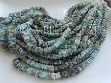 "8"" half strand natural LARIMAR smooth gem stone heishi cube beads 6mm blue brown"
