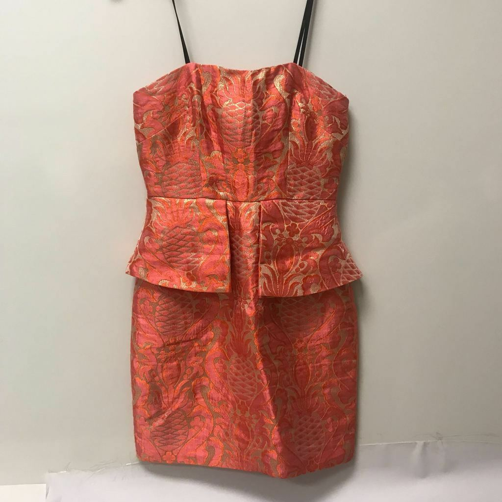 Laundry Brocade Coral Strapless Dress