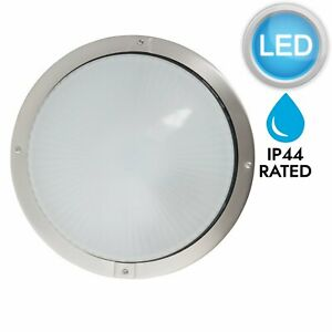 Round-Stainless-Steel-amp-Glass-LED-Outdoor-IP44-Bulkhead-Garden-Porch-Wall-Light