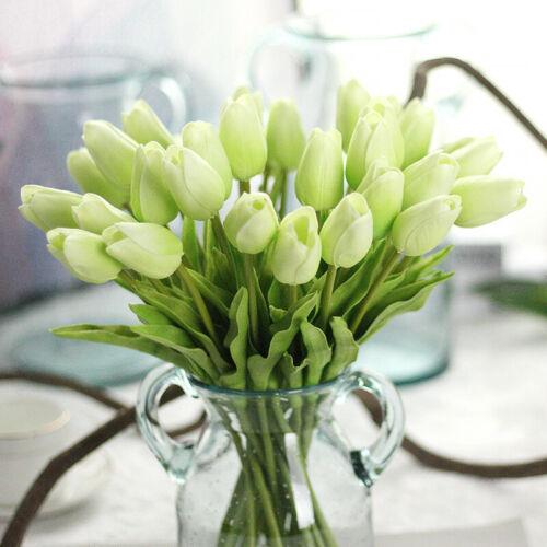20Pcs Artificial Tulip Fake Flowers Silk Flower Bouquet Home Wedding Party Decor