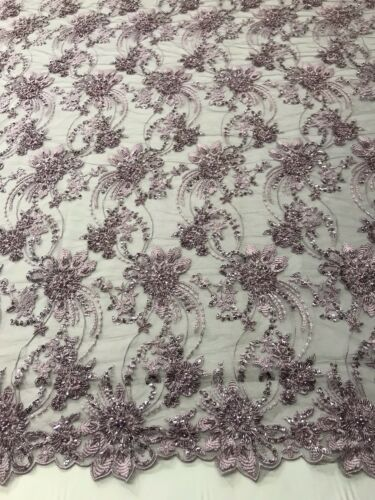 LIGHT PLUM HAND BEADED FLORAL DESIGN EMBROIDER ON A MESH LACE-SOLD BY THE YARD.