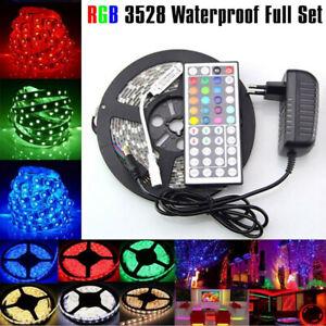 5M-3528-SMD-RGB-300-LED-Flexible-Light-Strip-Lamp-44-key-IR-12V-2A-Power-Supply
