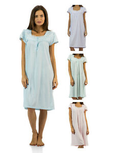 Casual-Nights-Women-039-s-Polka-Dot-Lace-Short-Sleeve-Nightgown