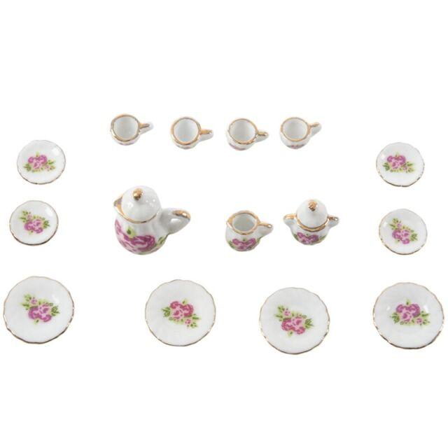 15 pieces Porcelain tea set Dollhouse miniature foods Chinese rose dishes Y9D6