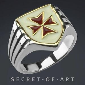 Tempelritter Ring Freimaurer Siegel Knights Templar Kreuzritter 925 Silber Loge