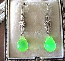 Elegant Vintage Nouveau Inspired Green Uranium Glass Drop Earrings