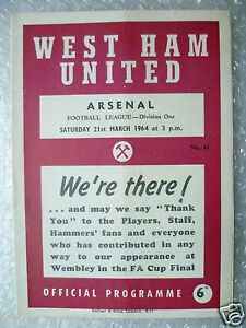 1964 WEST HAM UNITED v ARSENAL 21 March League Division One Programme - ilford, Essex, United Kingdom - 1964 WEST HAM UNITED v ARSENAL 21 March League Division One Programme - ilford, Essex, United Kingdom