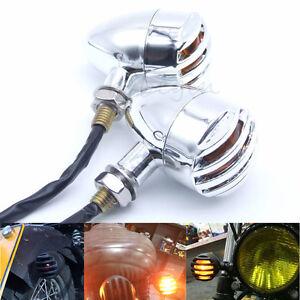 2x-Chrome-Ambre-LED-Moto-Clignotants-Mini-Bullet-Lampe-Indicateur-Universel-Bulb