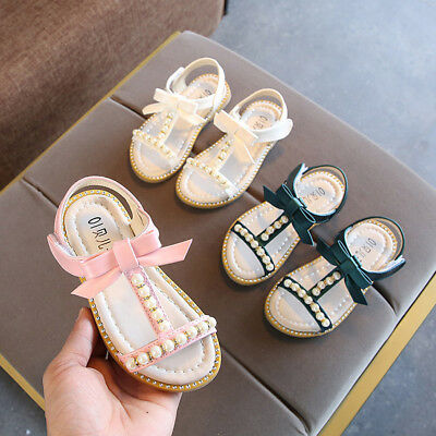 Infant Kids Baby Girls Pearl Crystal Bling Bowknot Princess Shoes Sandals AU