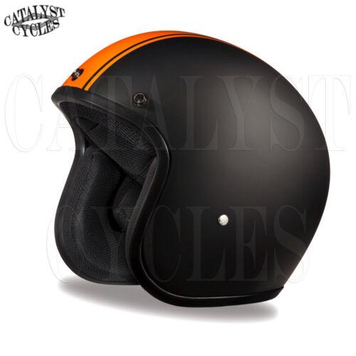 3//4 Motorcycle Helmet Flat Black Open Face Helmet DOT Daytona Cruiser ALL SIZES