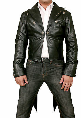 Mans 100% REAL LEATHER Black TAILCOAT Steampunk Jacket Morning Dress Coat  GOTH