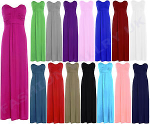 WOMEN-BOW-TIE-KNOT-SLEEVELESS-BANDEAU-BOOBTUBE-LONG-JERSEY-MAXI-DRESS-SIZE-8-14