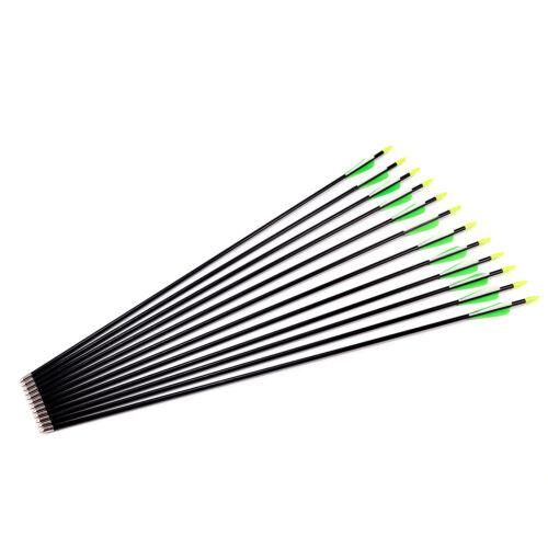 12 Frecce Freccia Fibra Vetro per Tiro con l/'Arco Punta Arrotondata