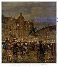 St. Martin Latern procession Dusseldorf German art print 1908 children Santa +