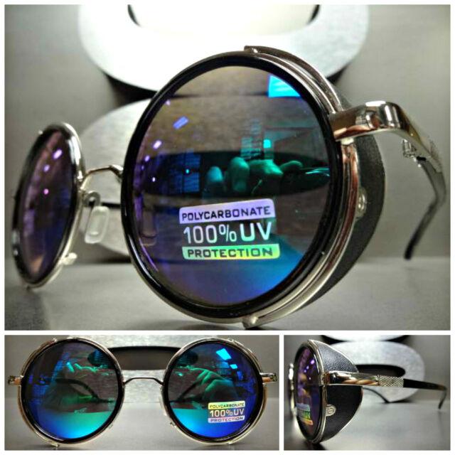 VINTAGE RETRO 60s STEAMPUNK CYBER Round Blinder SUN GLASSES Black & Silver Frame