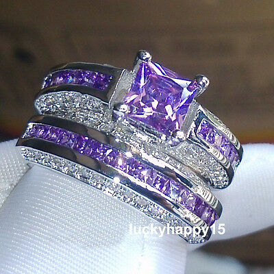 2pcs Classic Women 18K White Gold Filled Amethyst Wedding Bridal Engagement Ring