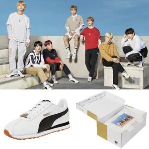 BTS X PUMA TURIN Shoes Sneakers Bangtan Boys White 368188 Limited ... 0fa500384