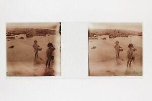 Bambini-Spiaggia-Fotografia-Amateur-Placca-Stereo-Positive-Vintage-PL33L13P11
