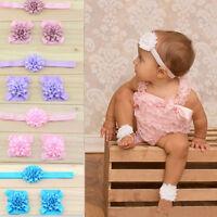 New Style 3pcs Foot Flower Barefoot Sandals Babies Elastic Hair Infant Headbands