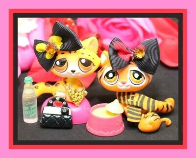 Littlest Pet Shop Tabby Leopard Kitty CAT 388 and Free Accessory Authentic