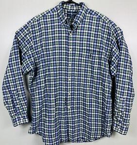 Polo-Ralph-Lauren-Long-Sleeve-Oxford-Shirt-Plaid-Mens-Size-L-White-Blue-Green