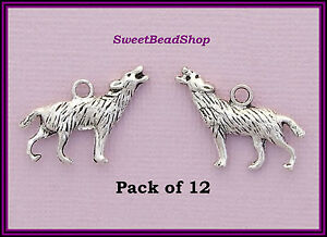 12-Antique-Silver-Colour-Double-Sided-18-x-25mm-Pagan-Howling-Wolf-Charms