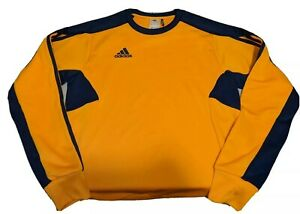 Adidas long sleeve shirt men's sz S jersey polyester yellow / blue ...