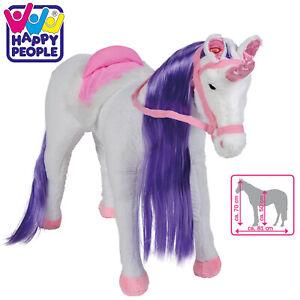 Happy-People-Einhorn-Plueschpferd-pferd-mit-Sound-stehend-Spielzeug-Stehpferd-neu
