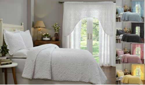 Better Trends Double Wedding Ring Collection 100% Cotton Chenille Comforter Set