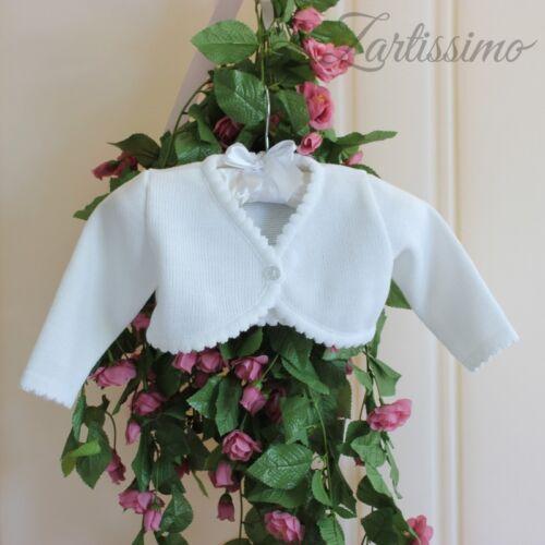 BOLERO pour taufkleid tricot veste babyjacke tricot BOLERO Blanc 62,68,74,80,86 Nouveau