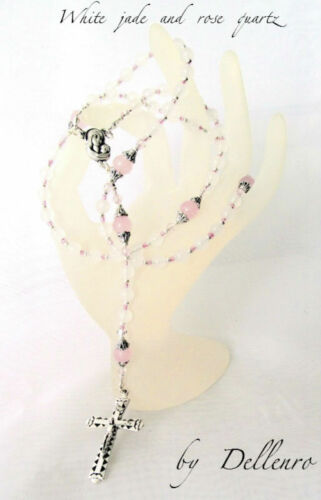 ✫WHITE JADE AND ROSE QUARTZ✫ HANDCRAFTED GEMSTONE ROSARY 6mm