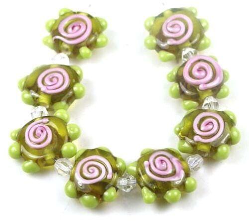 8 Lampwork Handmade Glass Chartreuse Pink Swirl Disc Beads