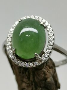 Certified Grade A Ice Green Burma Jadeite Jade Ring with 925 Silver / Free Size