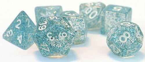 RPG Cubo Set 7 pezzi Poly DND Blu Gioco di ruolo Tabletop dice 4 Friends w4-w20