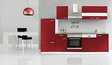 Küchenzeile Küche Küchenblock 280 Bordeauxrot mit E-Geräten