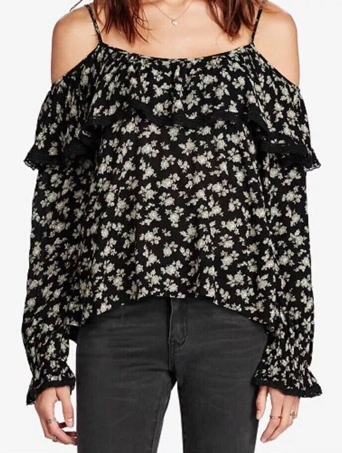 NWT Denim & Supply Ralph Lauren Ruffled Cold Shoulder Top. Size L.  125.00
