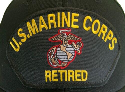 Marine Corps Veteran RETIRED Hat Black Ball Cap USMC Retired